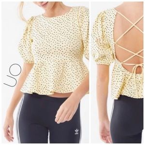 3/$50 NWT UO yellow black dot open lace back top M